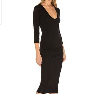 Standard James Perse black ruched body con dress